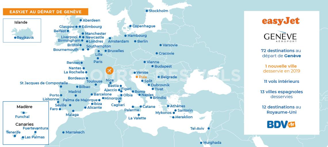 carte des vols easyjet Vols Easyjet Geneve. Envolez vous avec Easyjet au départ de Geneve