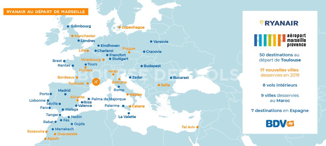 carte des vols ryanair Vols Ryanair Marseille. Envolez vous avec Ryanair au départ de